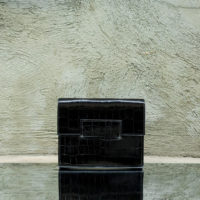 Ice Clutch Black Crocodile Embossed Leather