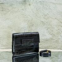 Ice Clutch Black Crocodile Print