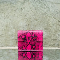 Ice Clutch Dark Pink Snake Print Leather