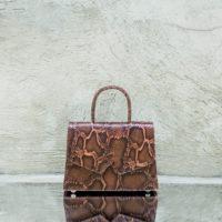 Alpha Classic Burnt Cinnamon Snake Print Leather