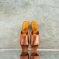 Heeled Burnt Orange Ayers Snake Skin Open-Toe Mules (42)