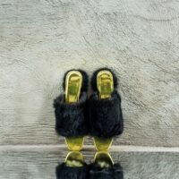 Heeled Black Rabbit Fur Open-Toe Mules (41)