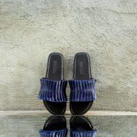 Pleated Navy Blue Slides