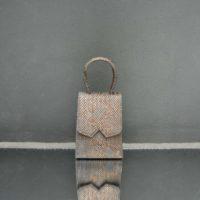 Alpha Mini Metallic Light Coral Snake Embossed Leather