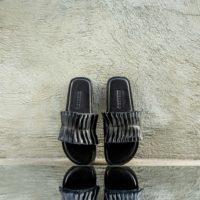 Pleated Black Slides