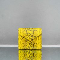 Envelope Clutch Yellow Snake Embossed Leather