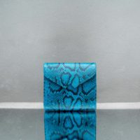 Envelope Clutch Turquoise Blue Snake Embossed Leather
