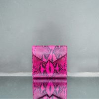 Envelope Clutch Pink Snake Embossed Leather