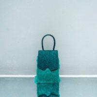 Alpha Mini Glint Forest Green Calf Embossed Leather With Rabbit Fur