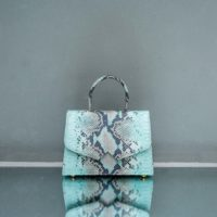 Alpha Classic Mint Green Snake Embossed Leather