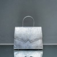 Alpha Madam Metallic Silver Crocodile Embossed Leather