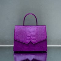 Alpha Madam Purple Crocodile Embossed Leather