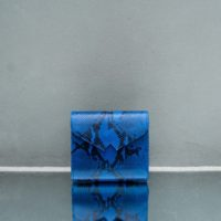 Envelope Clutch Yale Blue Snake Embossed Leather