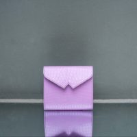 Envelope Clutch Blush Pink Crocodile Embossed Leather