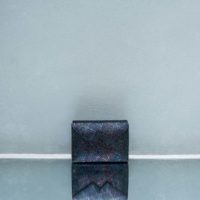 Box Clutch Mini Textured Iridescent Black Calf Skin