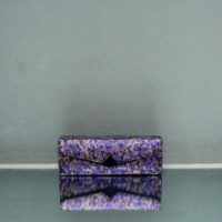 Box Clutch Elongated Spotted Amethyst Snake Embossed Leather Calf Hide Insert