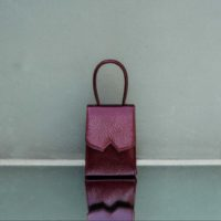 Alpha Mini Patent Wine Snake Embossed Leather