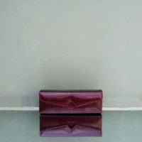 Box Clutch Elongated Patent Wine Snake Embossed Leather Calf Hide Insert