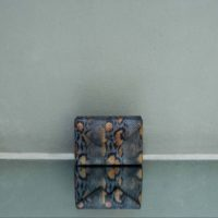 Box Clutch Mini Grey Orange Snake Embossed Leather