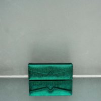 Box Clutch Elongated Speckled Green Calf Skin