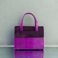 Ice Queen Purple Crocodile Embossed Leather Wine Purple Calf Hide