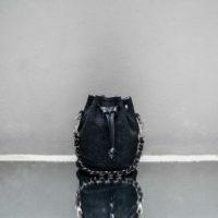 Mini Bucket Bag Black Textured Reptile Embossed Leather