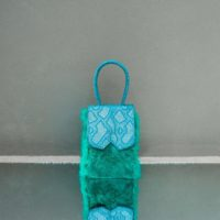Alpha Mini Metallic Teal Blue Snake Embossed Leather With Green Rabbit Fur