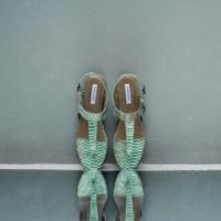 Thong Slippers Metallic Mint Green Snake Embossed Leather (39)