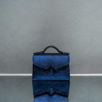 TKO Mini Metallic Stripy Navy Blue Calf Skin Snake Embossed Leather Insert