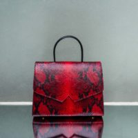 Alpha Madam Blood Red Snake Embossed Leather