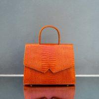 Alpha Madam Orange Crocodile Embossed Leather