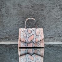 Alpha Classic Metallic Pink Grey Snake Embossed Leather