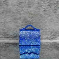 TKO Mini Silver Sparkle Cobalt Blue Snake Embossed Leather