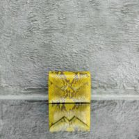 Box Clutch Mini Iridescent Canary Yellow Snake Embossed Leather