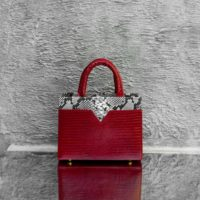 SST Classic Blood Red Crocodile Embossed Leather Snake Leather Insert