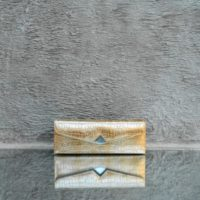 Box Clutch Elongated Distressed Metallic Gold Crocodile Embossed Leather Silver Calf Skin Insert
