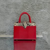 SST Classic Blood Red Lizard Embossed Leather Snake Leather Insert