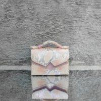 TKO Mini Metallic Crepe Pink Snake Embossed Leather Pink Calf Skin Insert