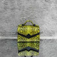 TKO Mini Lemon Green Snake Embossed Leather Black Ostrich Leather Insert