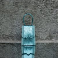 Alpha Mini Metallic Green Snake Embossed Leather