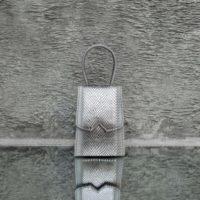 Alpha Mini Metallic silver Grey Snake Embossed Leather