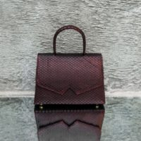Alpha Classic Merlot Ayers Snake Embossed Leather
