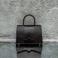 Alpha Classic Chocolate Brown Crocodile Embossed Leather