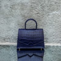 Alpha Classic Navy Blue Crocodile Embossed Leather