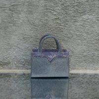 SST Mini Metallic Powder Blue Snake Embossed Leather