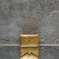 Box Clutch Mini Gold Snake Embossed Leather