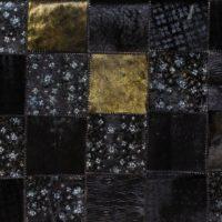 Black Gunmetal Floral Cowhide Leather Floor Rug