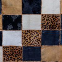 Tan Black Leopard Cream Cowhide Floor Rug