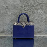 SST Classic Navy Blue Crocodile Embossed Leather Snake Leather Insert