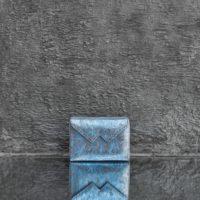 Box Clutch Mini Metallic Turquoise Calf Skin